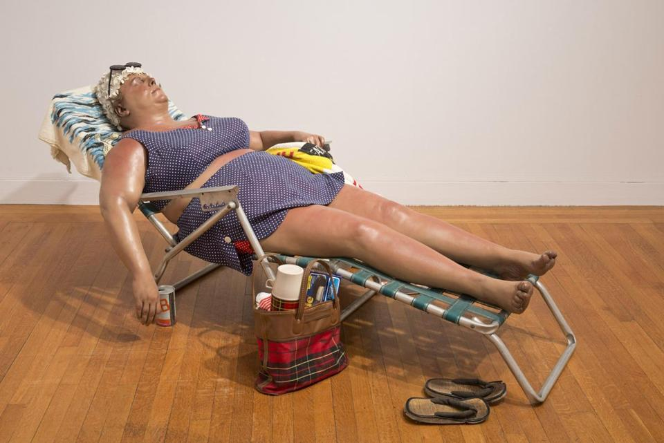 """Sunbather"" by Duane Hanson."